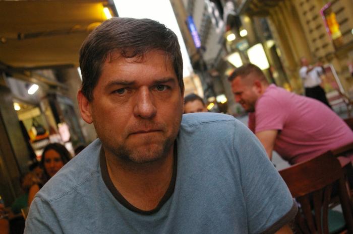 Jay on a Budapest street