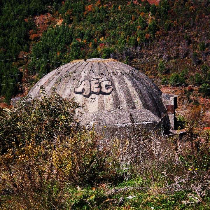Thousands of bunkers like this one dot the Albanian landscape. They were created during the Soviet era as a means of defending the country.