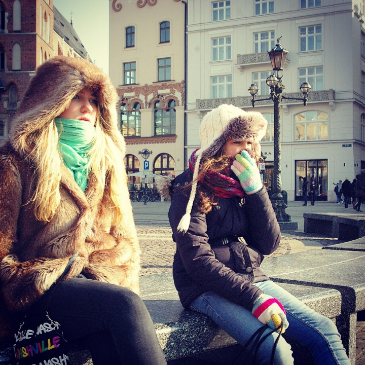 Sophie (16) and Jenna (12) take in the sights on a cold day in Poland