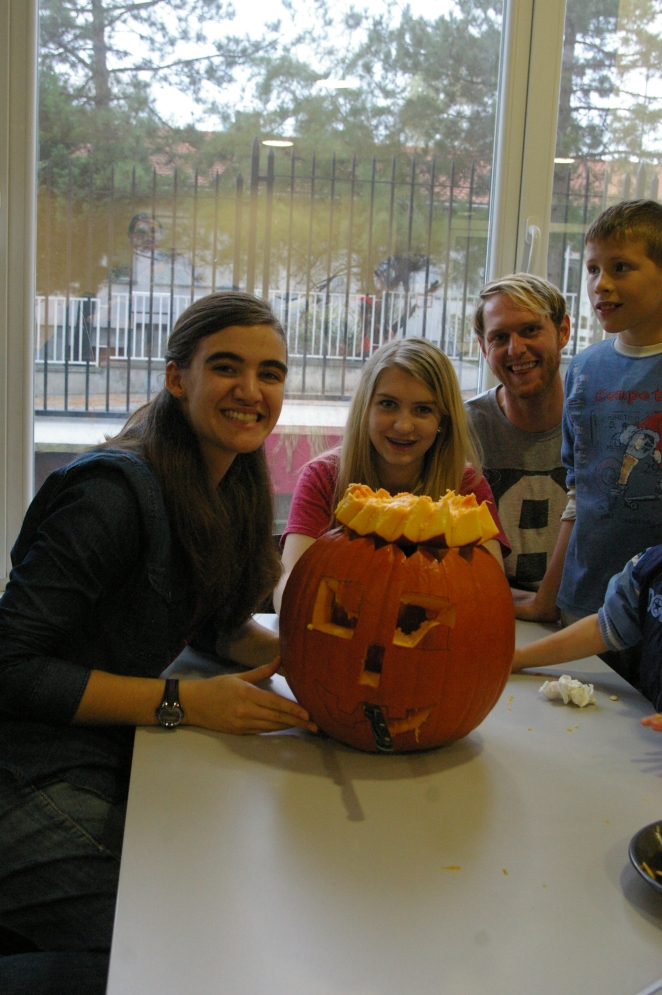 Carving pumpkins. We partner with the shelter, a secular organization to encourage the kids. The international school lets us use their facility.